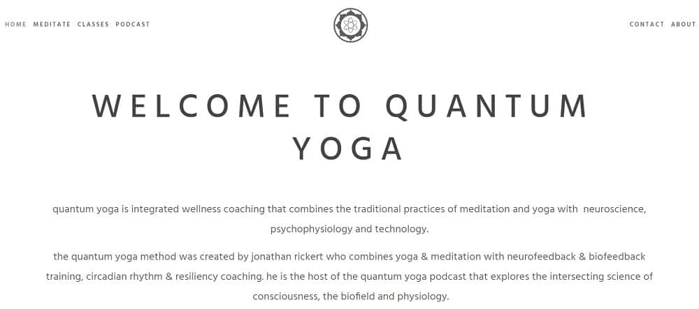 Screenshot of the site homepage for Quantum Yoga Podcast.