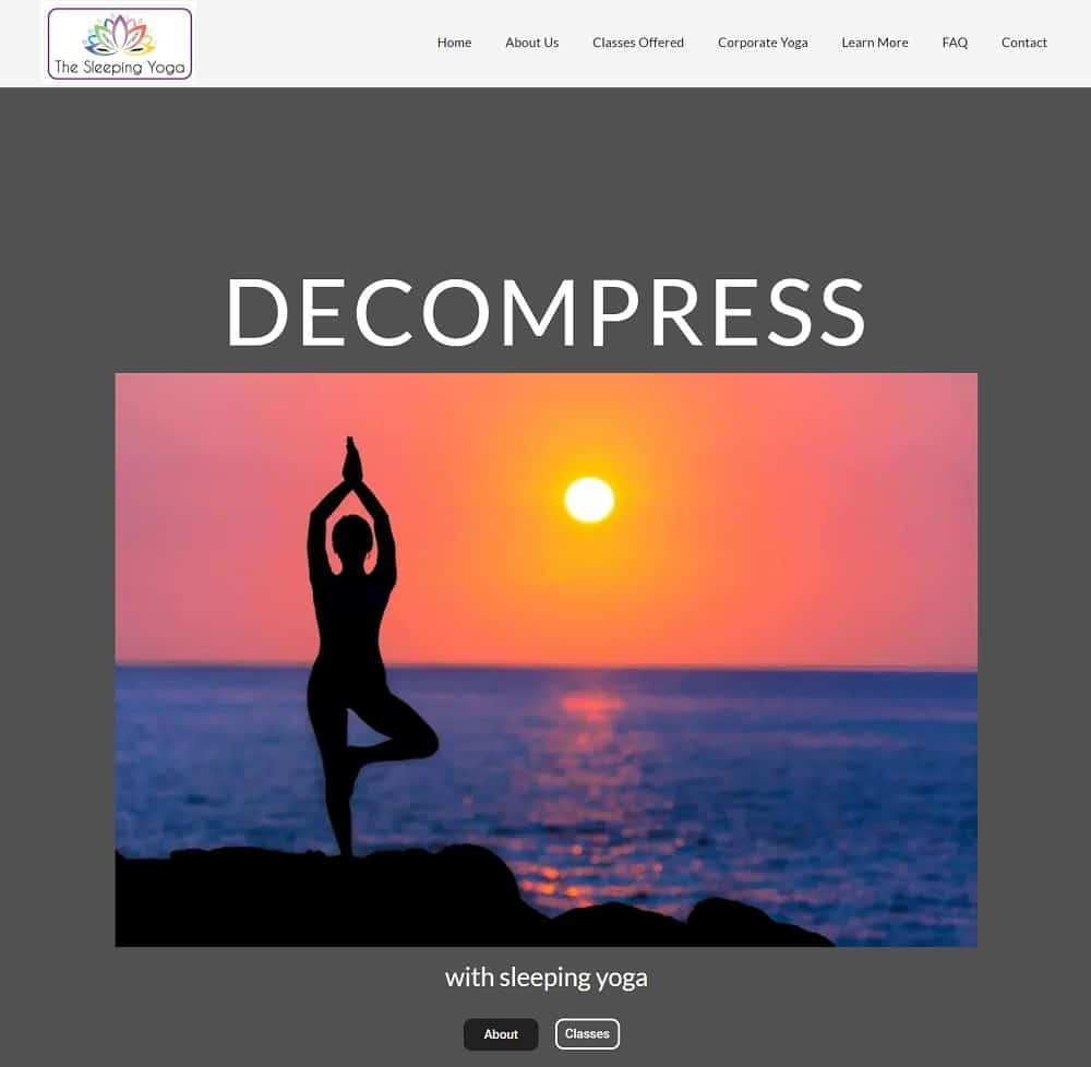 Screenshot of the site homepage for The Sleeping Yoga.