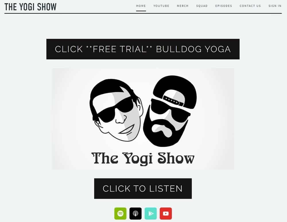 Screenshot of the site homepage for The Yogi Show.
