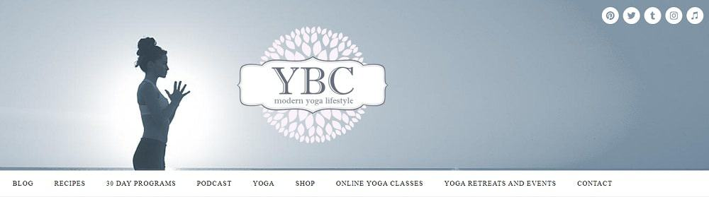 Screenshot of the site homepage for YogabyCandace.
