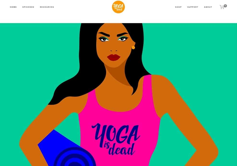 Screenshot of the site homepage for Yoga Is Dead.