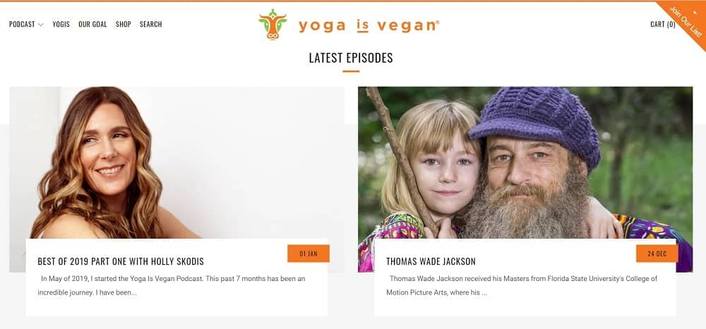 Screenshot of the site homepage for Yoga Is Vegan.