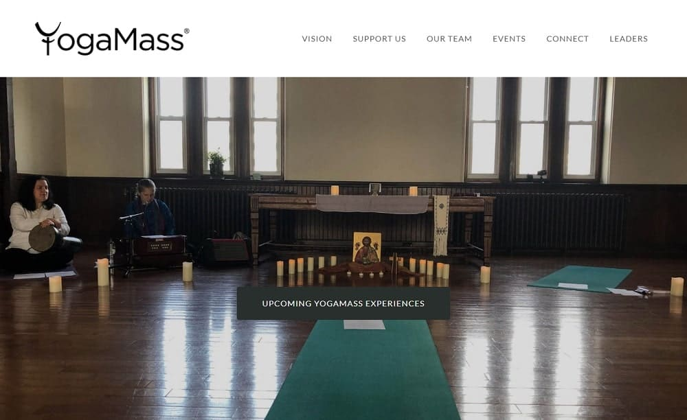 Screenshot of the site homepage for Yoga Mass.