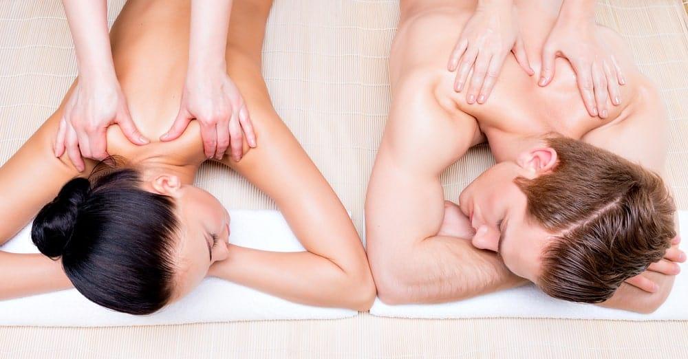 A couple enjoying a back massage.