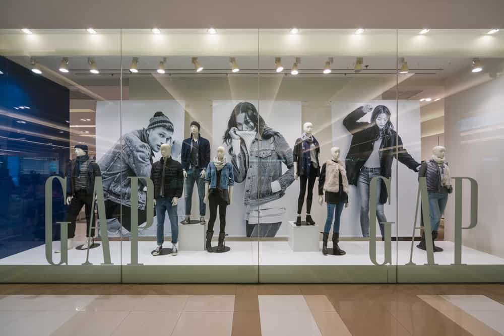 Fashion show case in gap store.