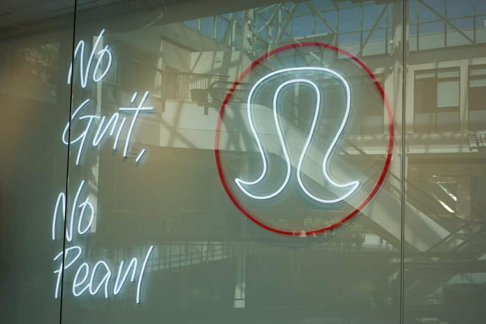 Lululemon logo at their pop up store.