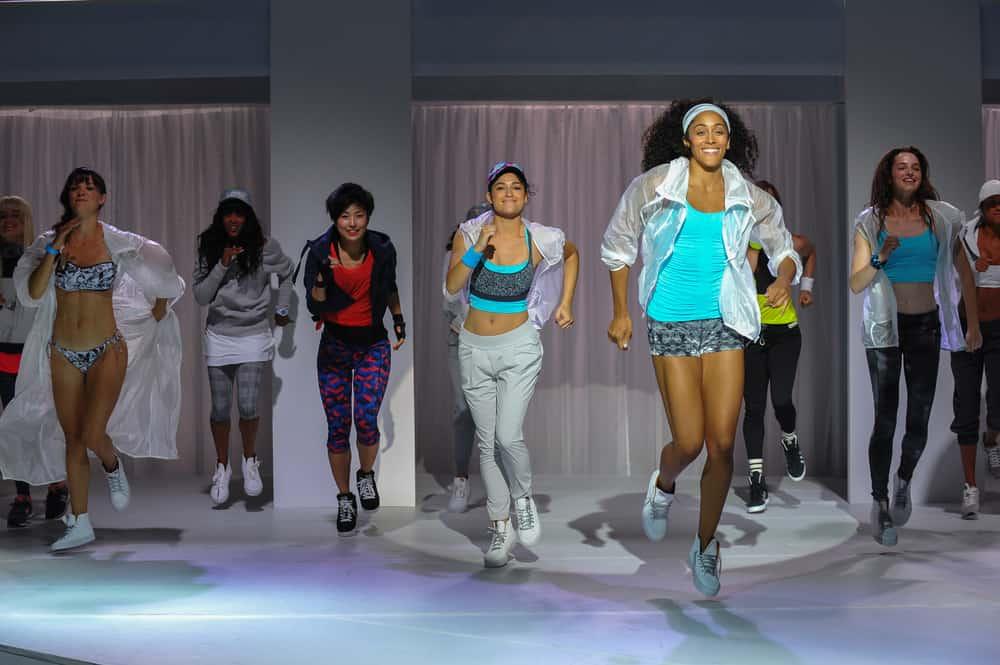 Models in their sportswear running.