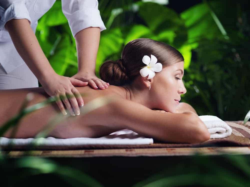 A woman having a Swedish massage.