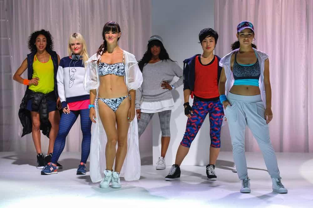 Women modeling different sportswear.