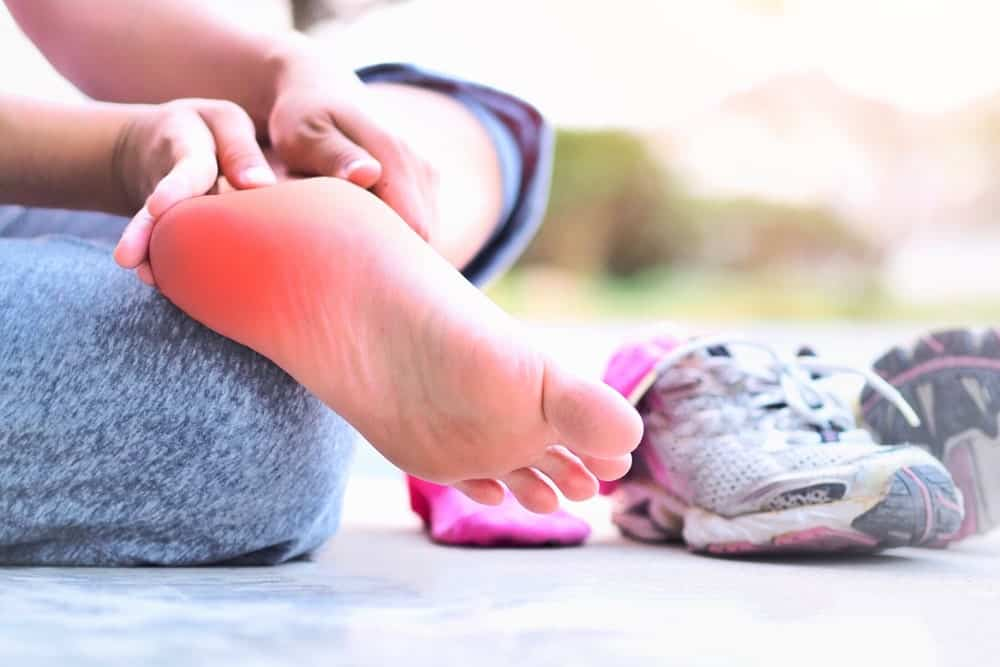 Foot pain from plantar fasciitis.