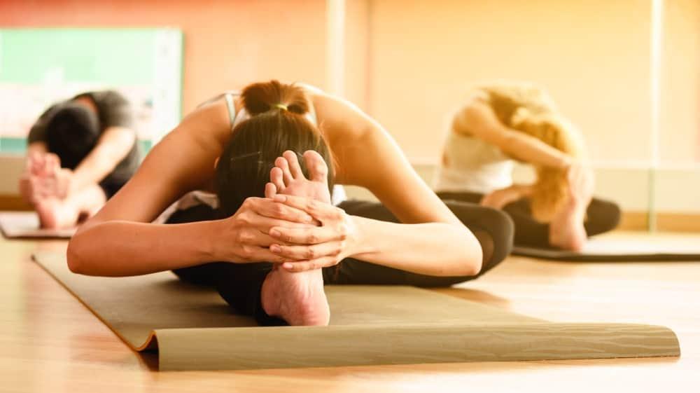 Women practicing Hatha yoga.
