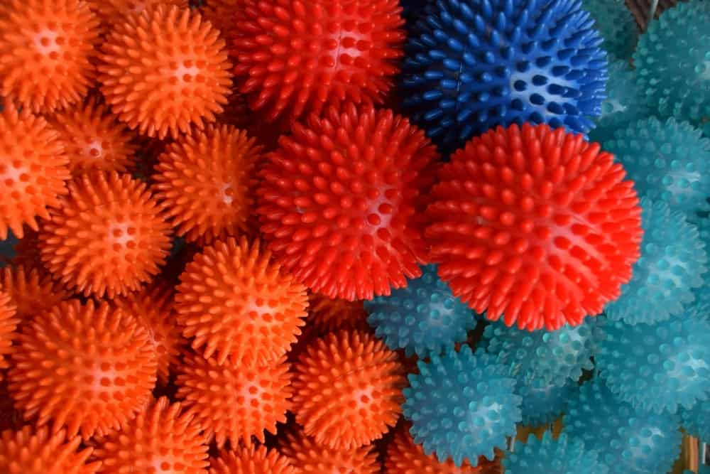 Colorful spiky massage balls.
