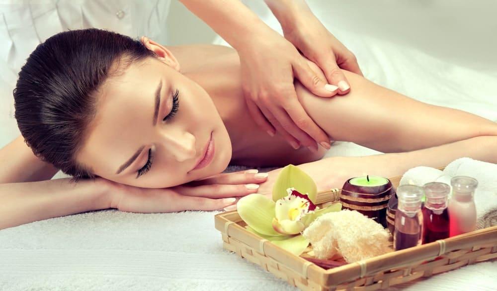 Woman enjoying a massage.