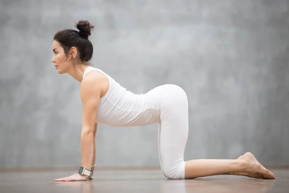 A woman in white doing the cat stretch pose.