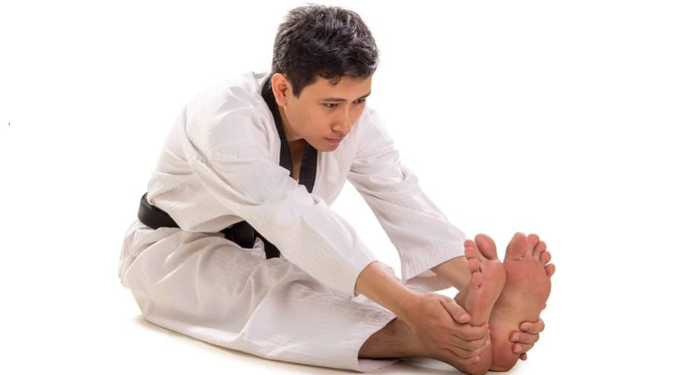 A martial artist demonstrates the pike stretch position.