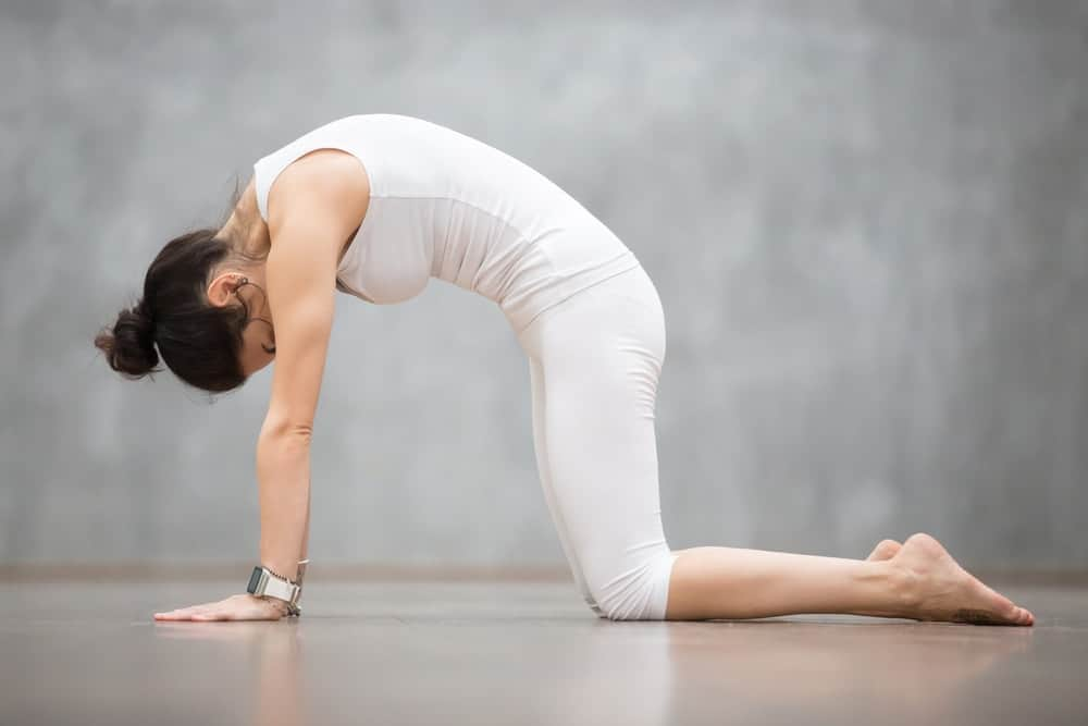 A woman doing the cat cow yoga pose.