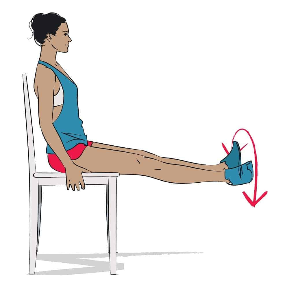 Vector of a woman doing seated ankle rotations.
