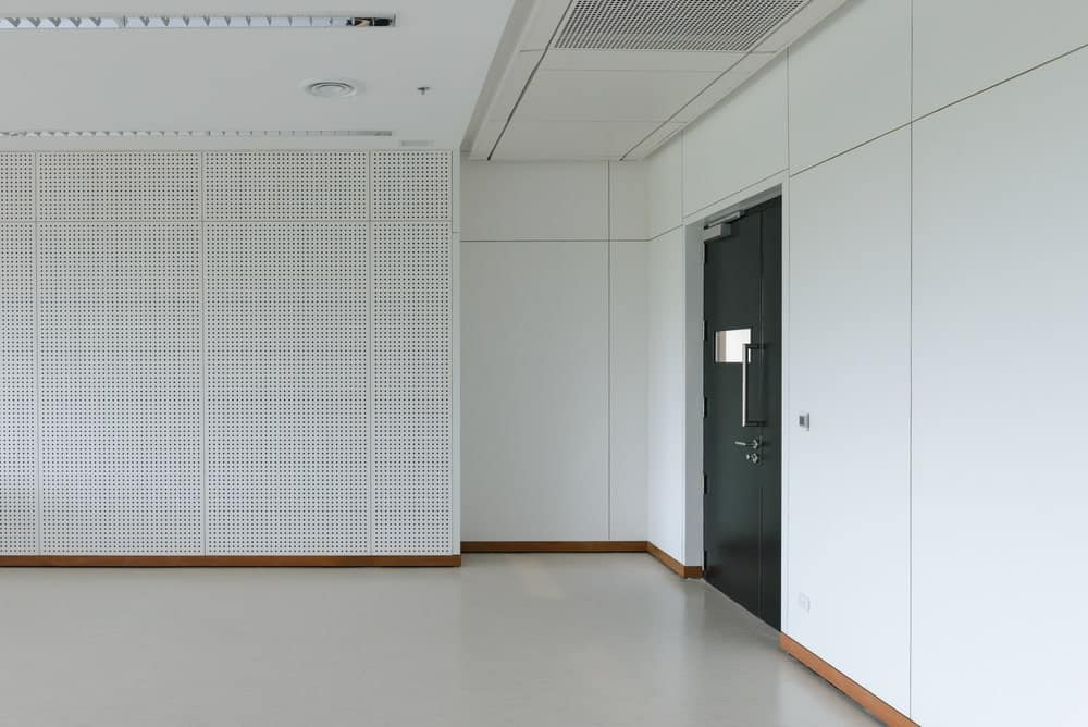 Empty white room with soundproof walls.