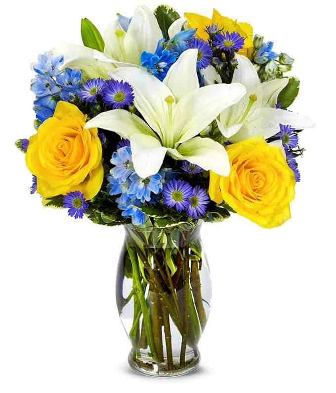 Bouquet of flowers on a glass vase.