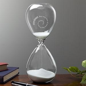 Engraved transparent hourglass