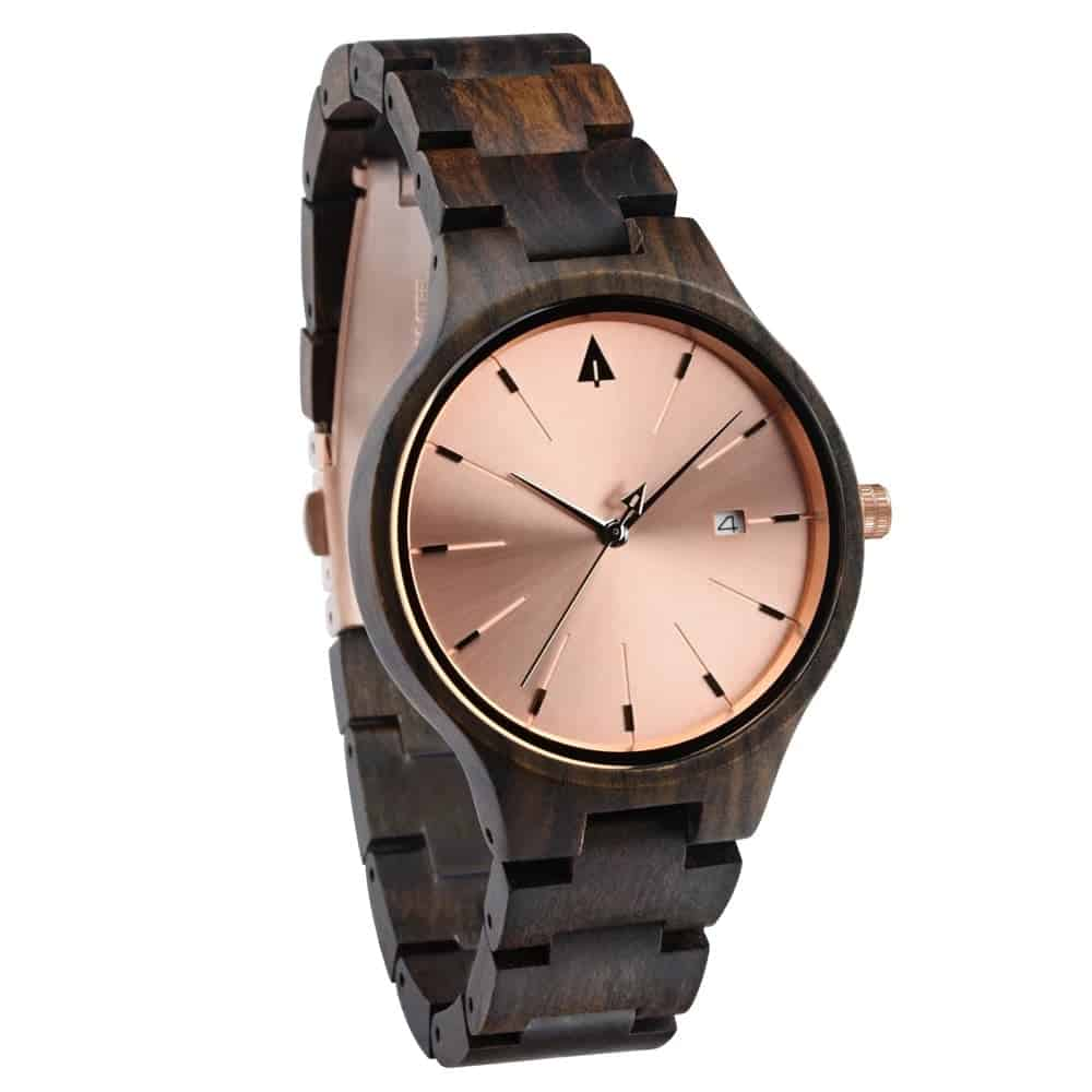 Personalized watch with rose gold dial