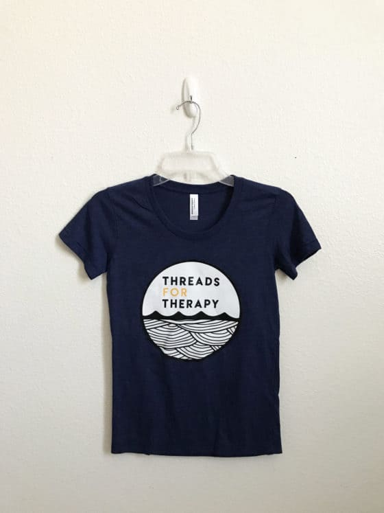 Threads for Therapy blue printer shirt
