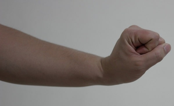 A close look at the clenched fist exercise.