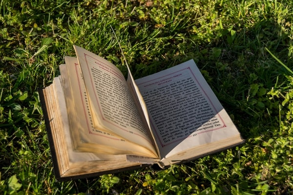 An old book lying on the grass.