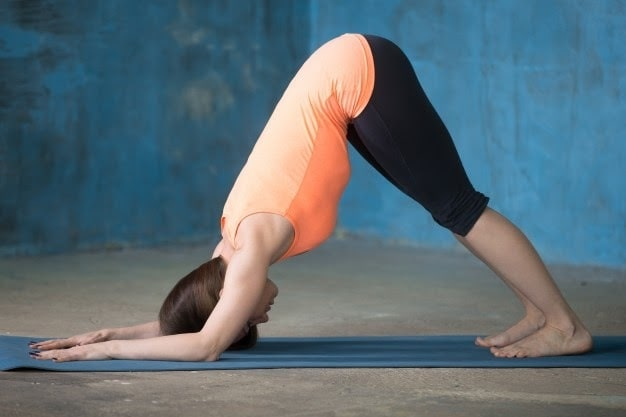 A woman doing Ardha Pincha Mayurasana or Dolphin Plank on a blue yoga mat indoors with blue walls and a concrete floor.
