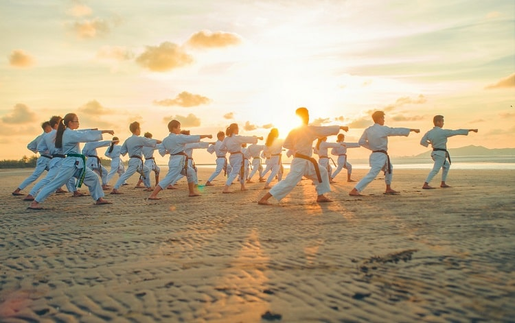 A martial arts class of young students practicing their pose on the sand, with the sunset in the background.