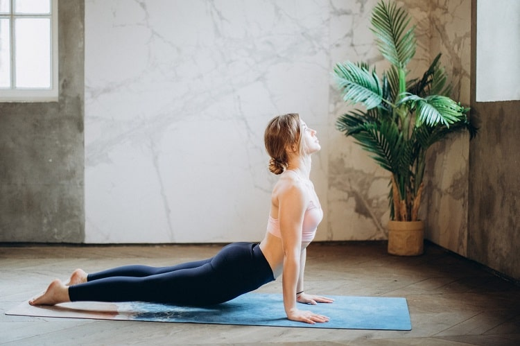 A woman doing Cobra Pose on a printed yoga mat indoors with a potted plant in the corner.