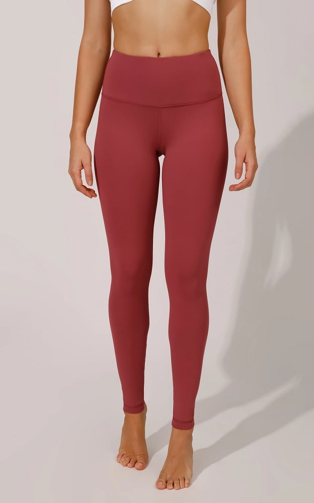 """A pair of marsala-colored """"Squat Proof"""" Interlink High-Waist Legging from 90 Degree by Reflex."""