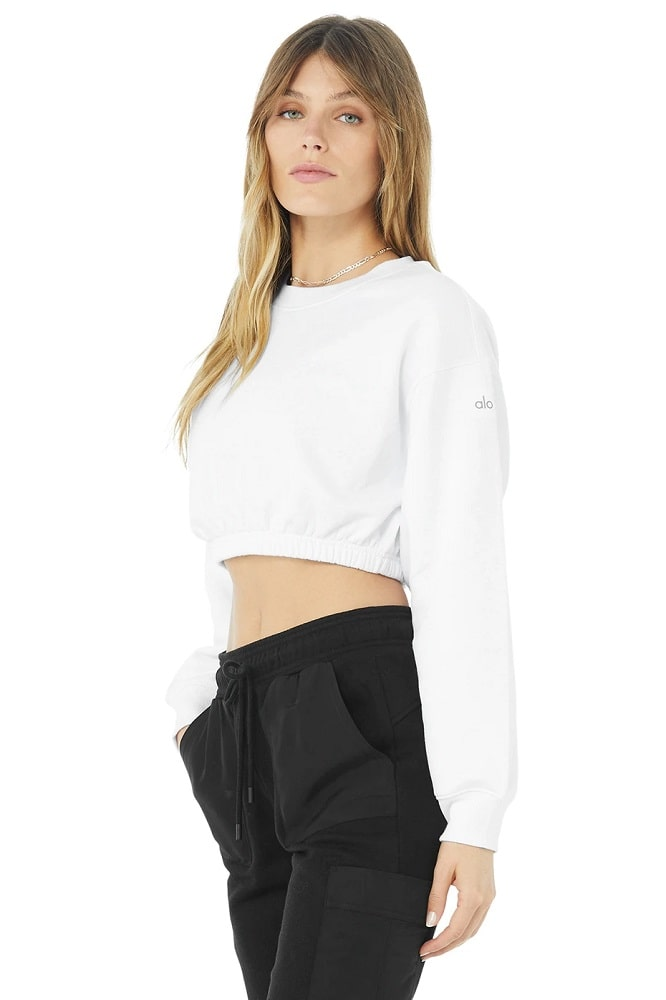 A Devotion Crew Neck Pullover in White from Alo.