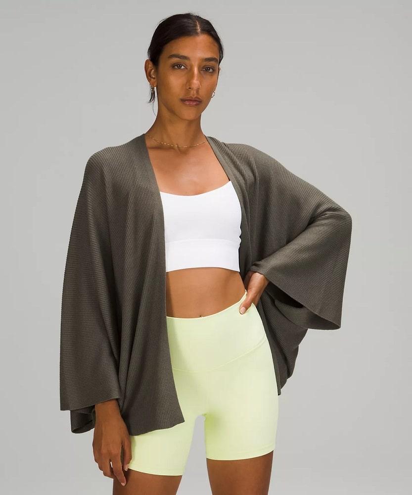 A Cashlu™ Knit Textured Wrap in Grey Sage from Lululemon.