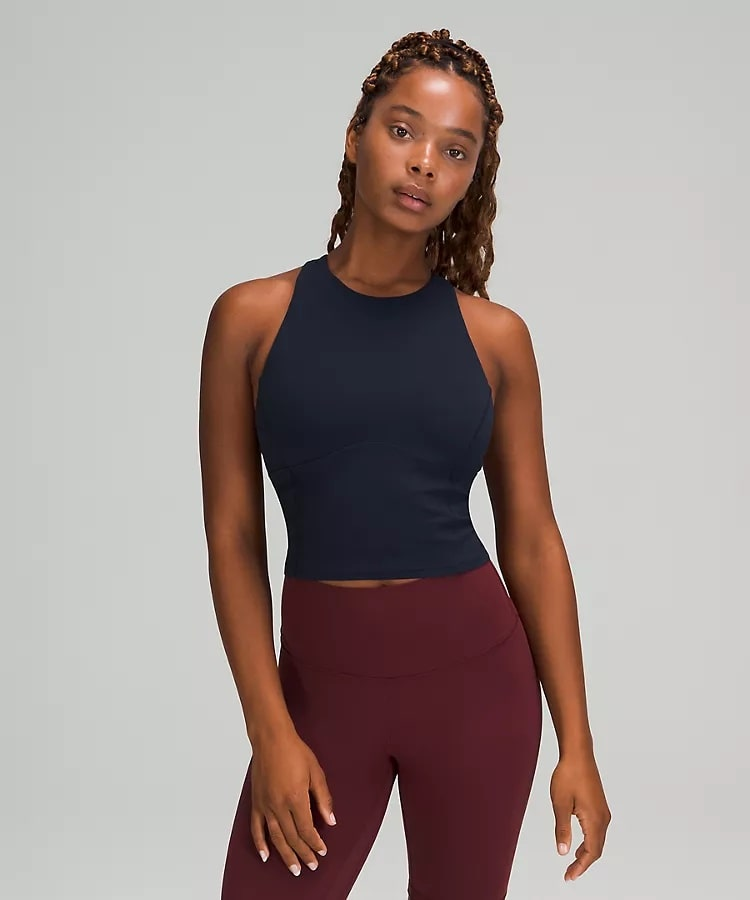 A Key to Balance Tank Top in True Navy from Lululemon.