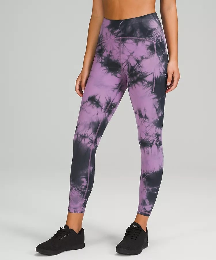 """An Power Thru High-Rise Tight 25"""" in Over Tie Dye Wisteria Purple Graphite Grey from Lululemon."""