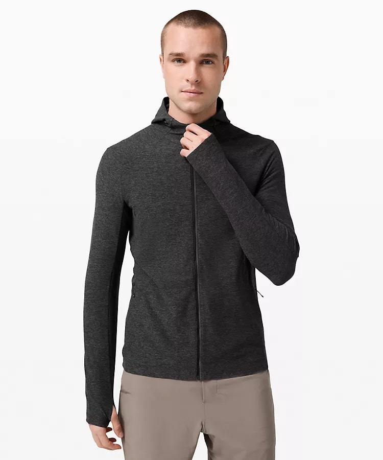 A graphite gray Surge Warm full-zip jacket from Lululemon.
