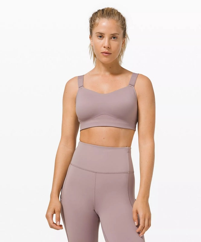 A Swift Speed Bra High Support in Violet Verbena from Lululemon.