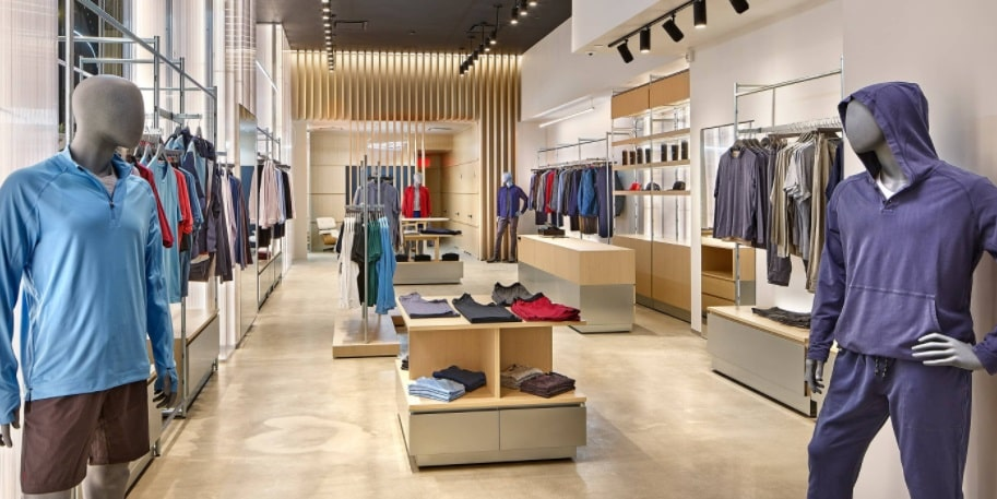 A photo of the interior of Rhone's retail shop located on 5th Avenue, New York.